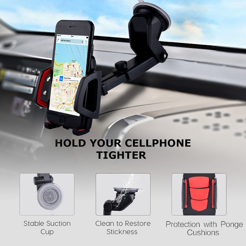 LG(Black) LG/(Black/) NPH001-B Nuaele Universal Dashboard//Windshield Solid Cell Phone Holder for Car Compatible with iPhone X//8//7//7Plus//6s//6P//5S//5C//SE//4 HTC Samsung Galaxy S5//S6//S7//S8 Cell Phone Car Mount