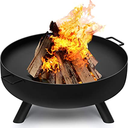 Amazon Com Amagabeli Fire Pit Outdoor Wood Burning Fire Bowl 28in With A Drain Hole Fireplace Extra Deep Large Round Cast Iron Outside Backyard Deck Camping Beach Heavy Duty Metal Grate Rustproof