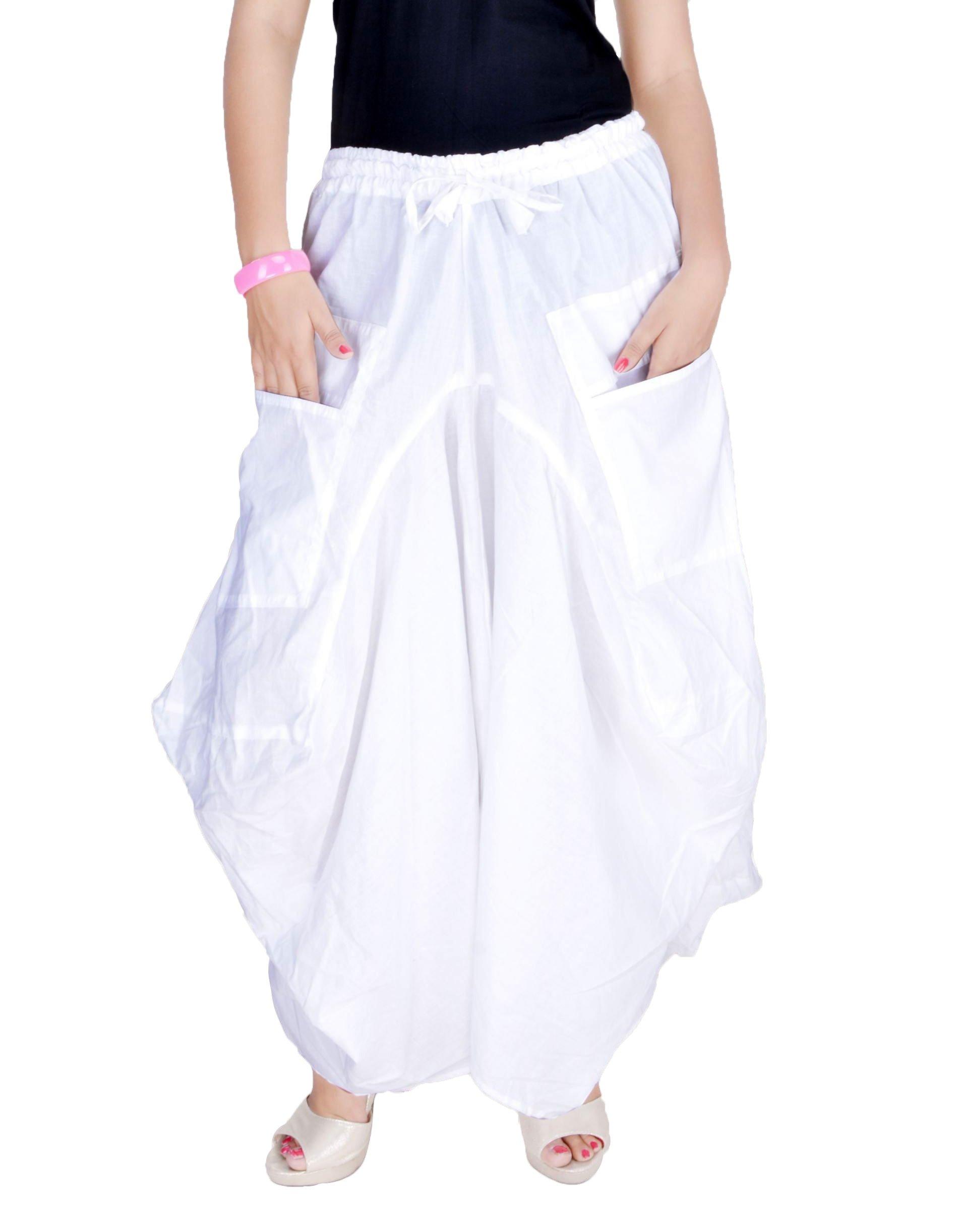 Sarjana Handicrafts Women Cotton Solid Pockets Skirt Hippie Afghani Ethnic (White)