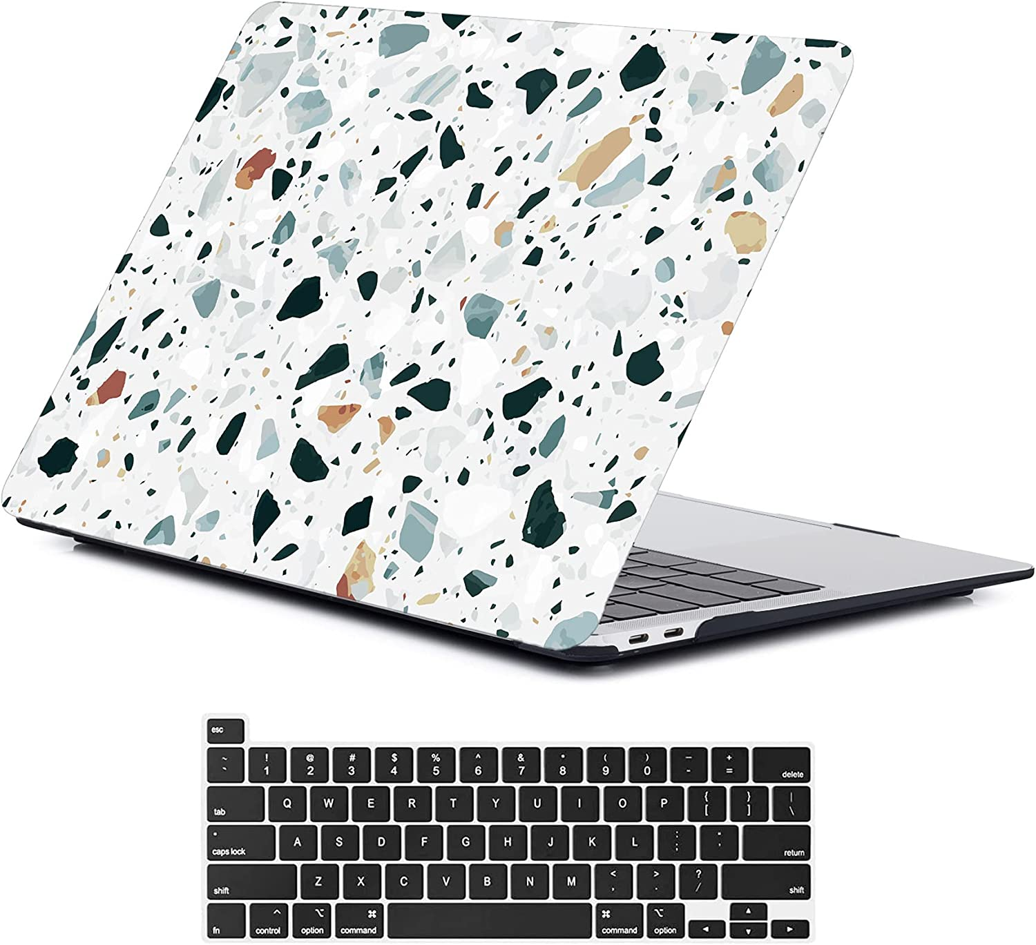 LanBaiLan New MacBook pro 13 inch Case 2020 2019 2018 2017 2016 Release M1 A2338 A2289 A2251 A2159 A1989 A1706 A1708, Terrazzo Laptop Case and Keyboard Cover Compatible for MacBook Pro 13 inches