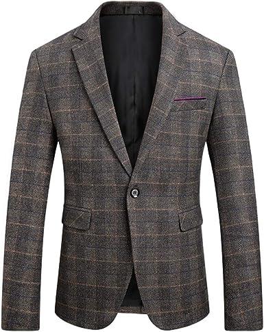 WULFUL Mens Suit Jacket One Button Slim Fit Sport Coat Casual Blazer Jacket