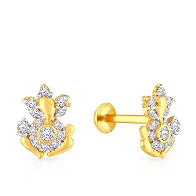c71fa5a73 Malabar Gold and Diamonds 22KT Yellow Gold Stud Earrings for Girls:  Amazon.in: Jewellery