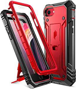 Poetic Revolution Designed Case for iPhone SE 2020 (2nd Gen), iPhone 8, iPhone 7, Full-Body Rugged Dual-Layer Shockproof Protective Cover with Kickstand and Built-in-Screen Protector, Metallic Red