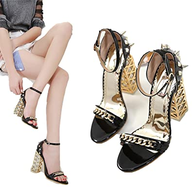 1ecabac0f3aa Summer Women High Heel Gladiator Sandals Woman Shoes Ladies Fashion Rivet  Crystal Transparent Metal Black