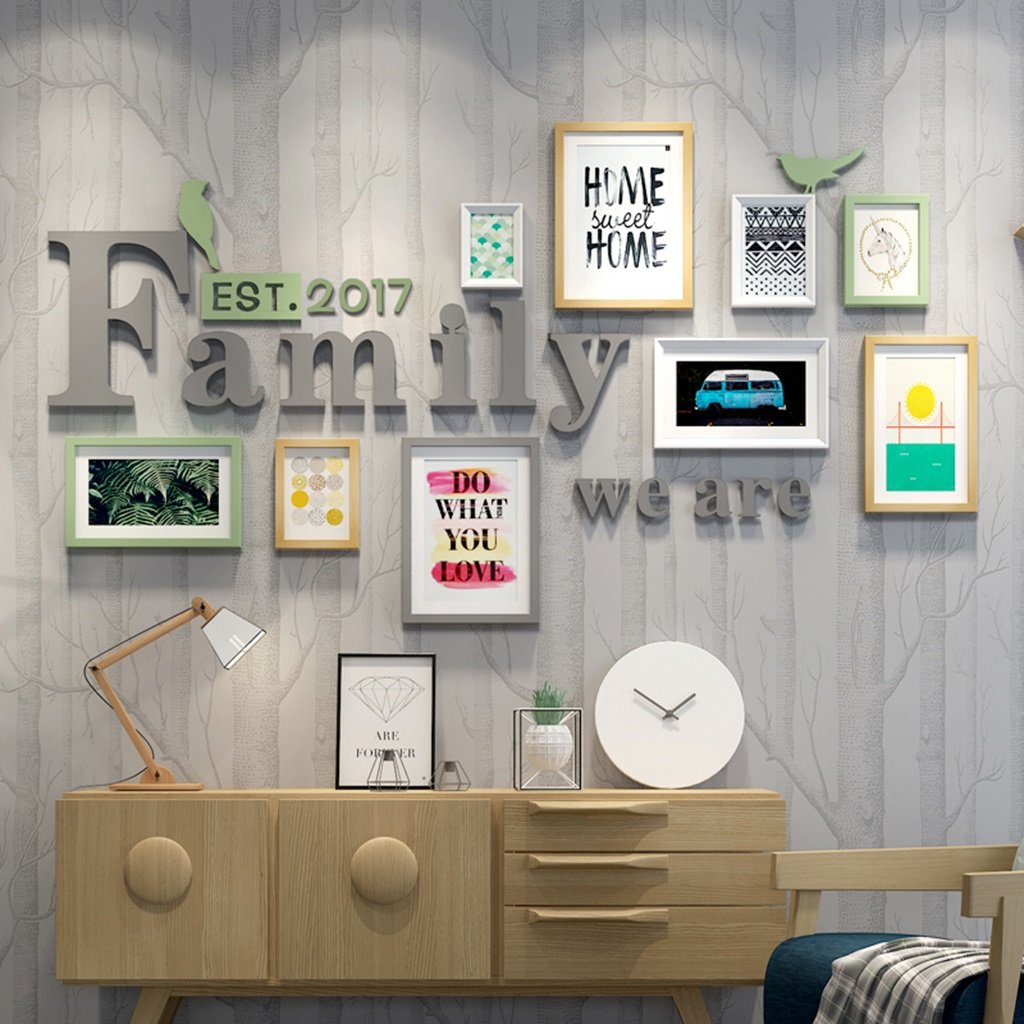 LQQGXL Home photo wall wood combo box living room luxury creative wall background wall decoration Photo frame ( Color : Multi-coloredB )