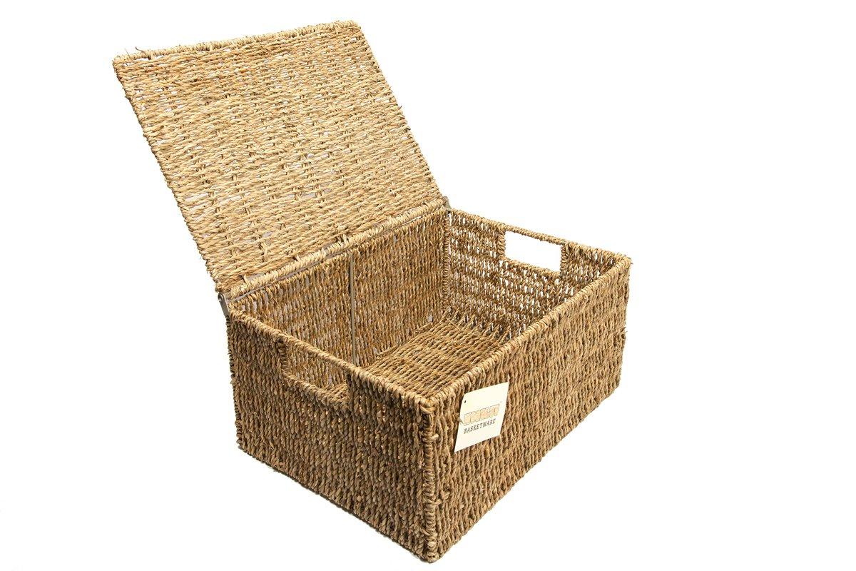 Woodluv Seagrass Storage Basket Box With Lid Xlarge by EliteHousewares E01-100XL