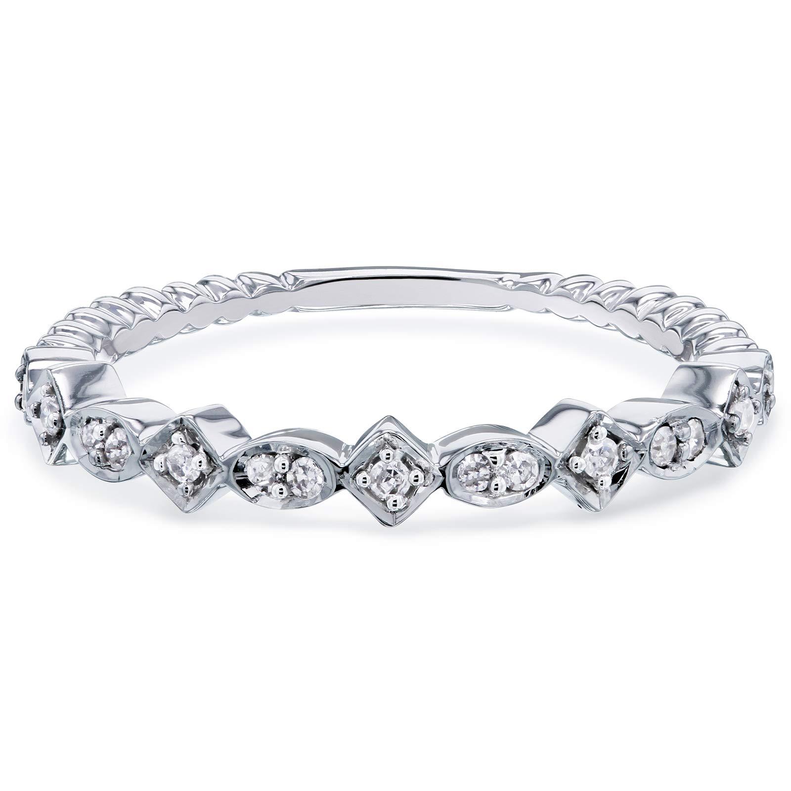 Kobelli Stackable Fashion Diamond Ring 1/10 CTW 10k White Gold, 8 by Kobelli