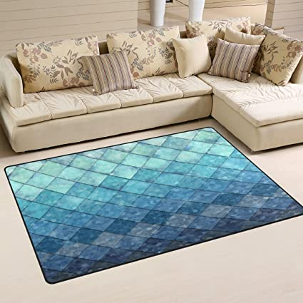 ZOEO Non Slip Area Rugs Royal Blue Mermaid Scales Geometric Rhombus Sofa Mat Living Room Bedroom Carpets Doormats Home Decor 3x5