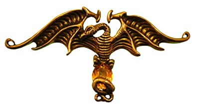 Amazoncom Bronze Liberty Dragon Pin With Amber Colored Crystal