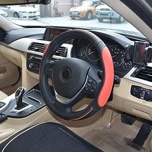 MPTECK @ Couvre Volant Rouge et Noir Cuir Housse pour volant antidérapant Couvre-volant 37-38cm pour auto SUV SUVs