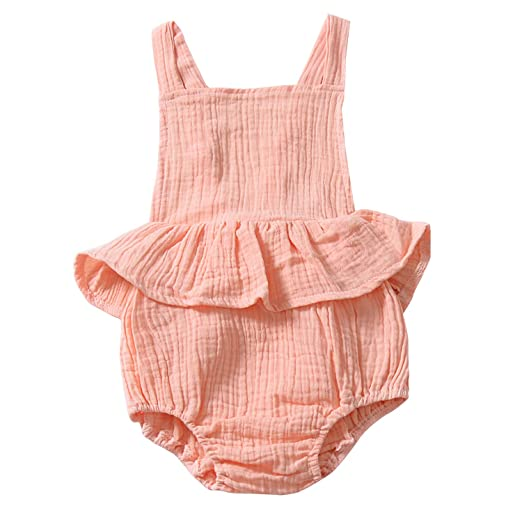 596801a49ee5 YOUNGER TREE Infant Baby Girl Bodysuit Newborn Ruffles Romper Sunsuit  Outfit Princess Clothes (Pink