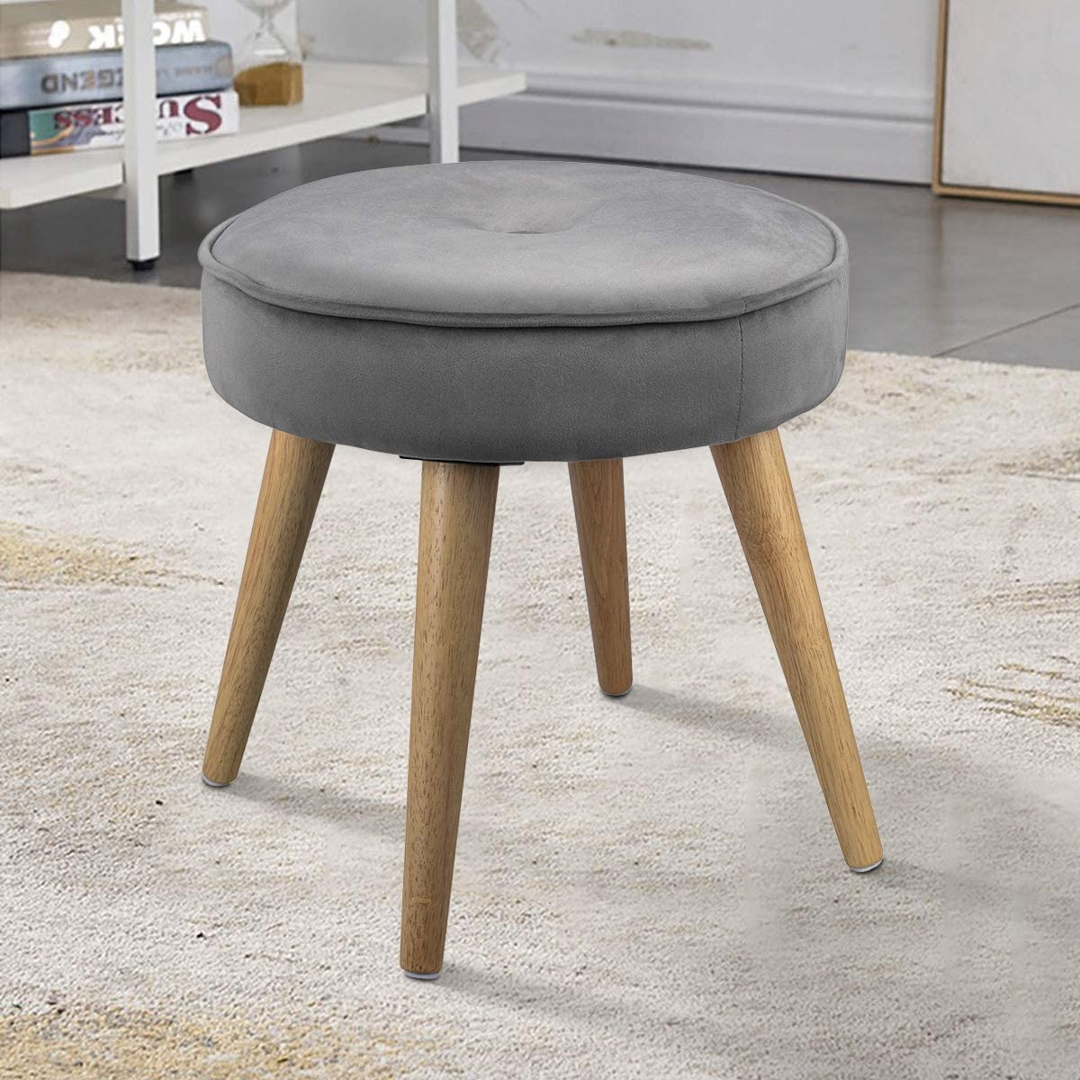 LINKLIFE Thick Padded Round Footrest Ottoman Stool Velvet Side Table Seat, Makeup Dressing Stool with Wooden Legs for Living Room, Bedroom, Small Space Room, Office Grey