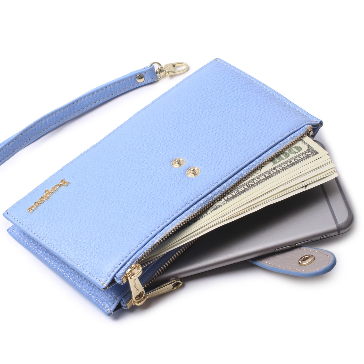Borgasets RFID Blocking Women's Genuine Leather Zipper Wallet Credit Card with Removable Strap Wristlet and ID Holder Blue
