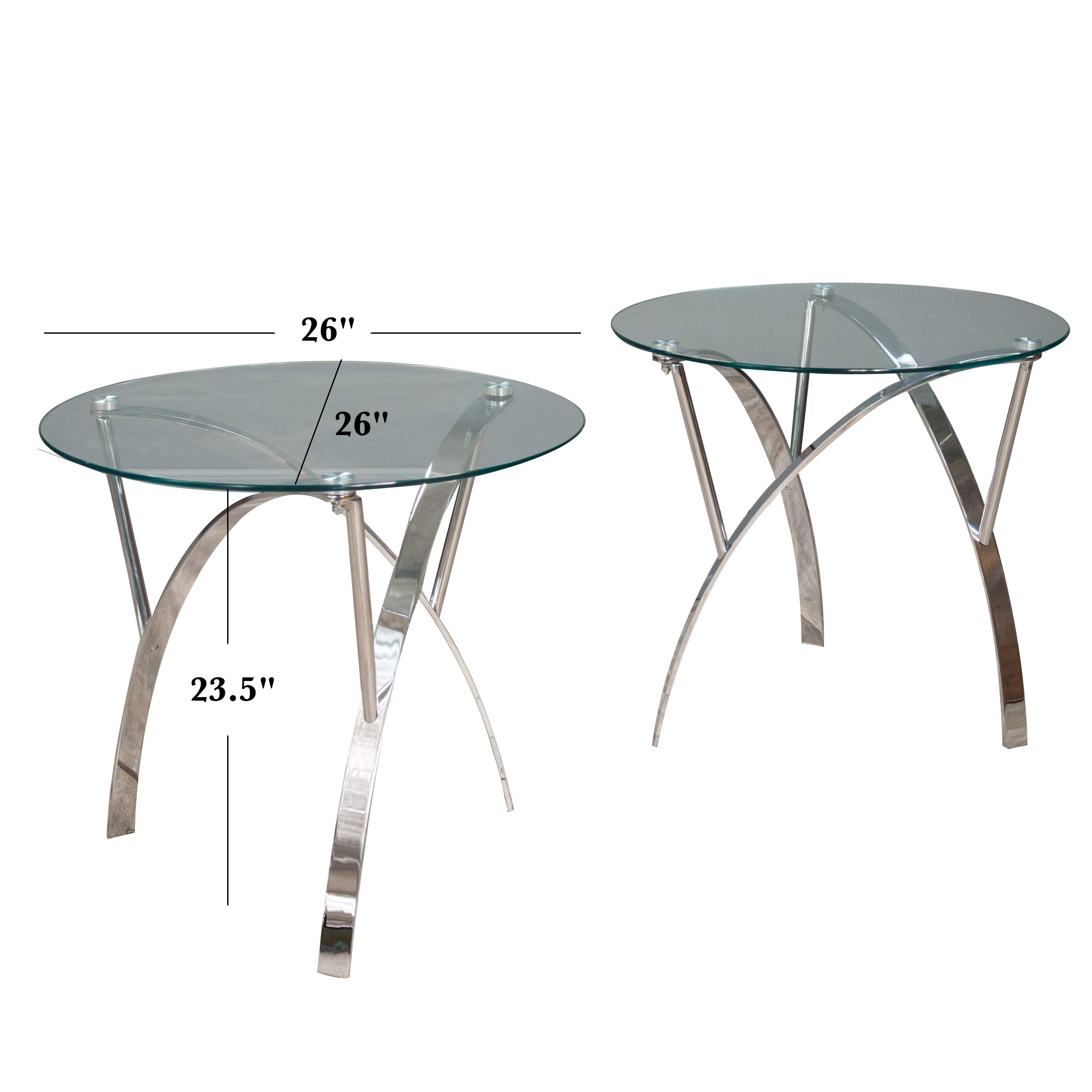 Great Deal Furniture 295401 Davina Tempered Glass Round End Tables w/Chrome Legs (Set of 2), Clear by Great Deal Furniture