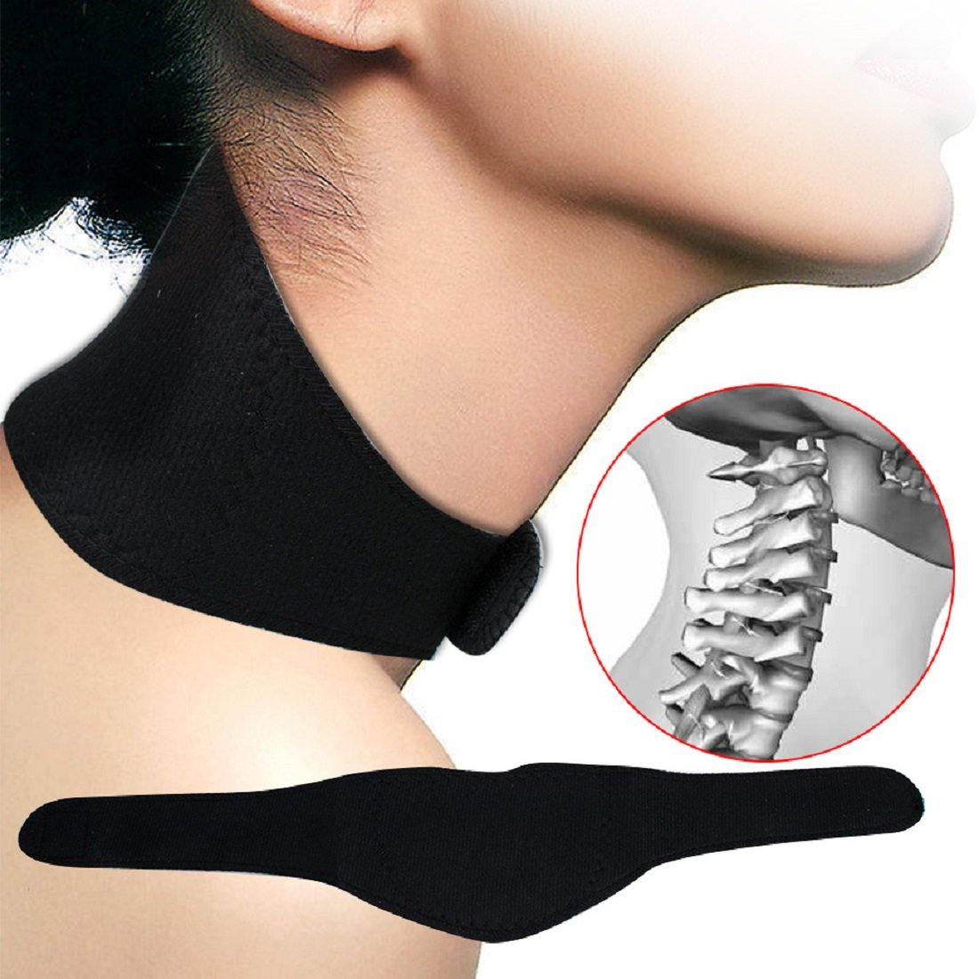 Jinon Far Infrared Ray Heat Neck,Neck Support Brace Tourmaline Massager Brace Support Strap for Men and Women Relief Pain Flexible Cervical Collar(Black)