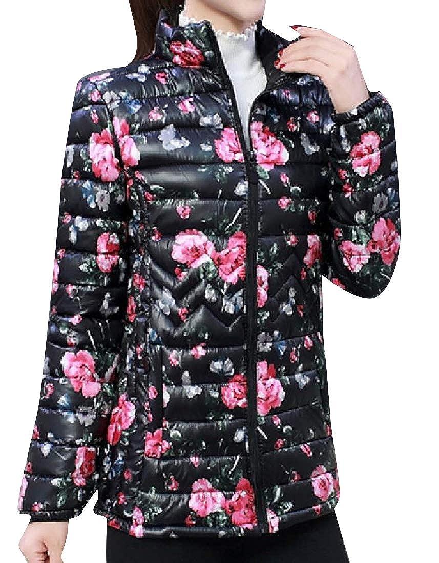 Vska Womens Oversized Floral Spring Ultra-Light Puffy Jacket