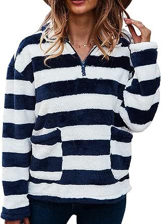 LIVACASA Sudadera Mujer Jersey Polar Mujer Sudadera Cuarto de Zip Caliente Flexible Invierno Otoño Hoodie Zip Casual Moda Amplio