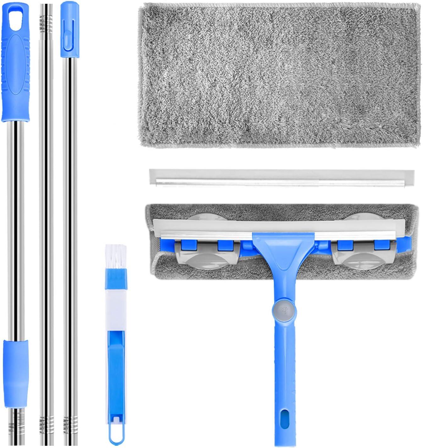 Lijia Lavavetri,pulisci vetri Magnetico Lavavetri telescopico con Fune Metallica anticaduta Testa tergicristallo Rotante a 360 Gradi Adatto per la Pulizia del Vetro di Interni ed Esterni