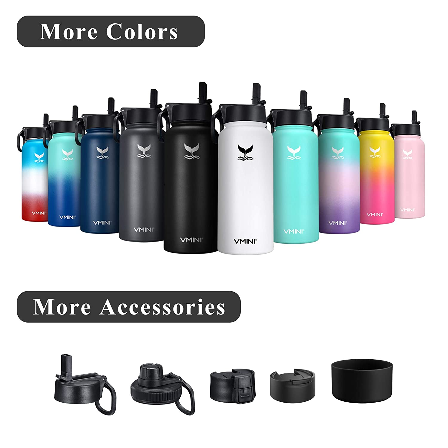 Vmini Water Bottle with New Wide Handle Straw Lid Wide Mouth Vacuum Insulated 188 Stainless Steel