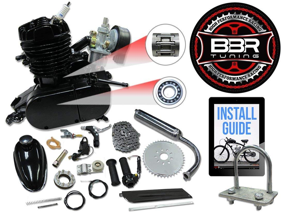 BBR Tuning 48cc Black Motorized Bicycle Kit - 2 Stroke Gas Powered Bike Motor Engine by Flying Horse