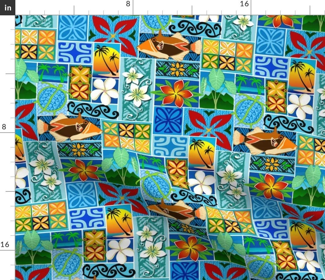 Spoonflower Fabric - Hawaiian Tiki Cocktail Tropic Polynesian Surf Beach Printed on Petal Signature Cotton Fabric by The Yard - Sewing Quilting Apparel Crafts Decor