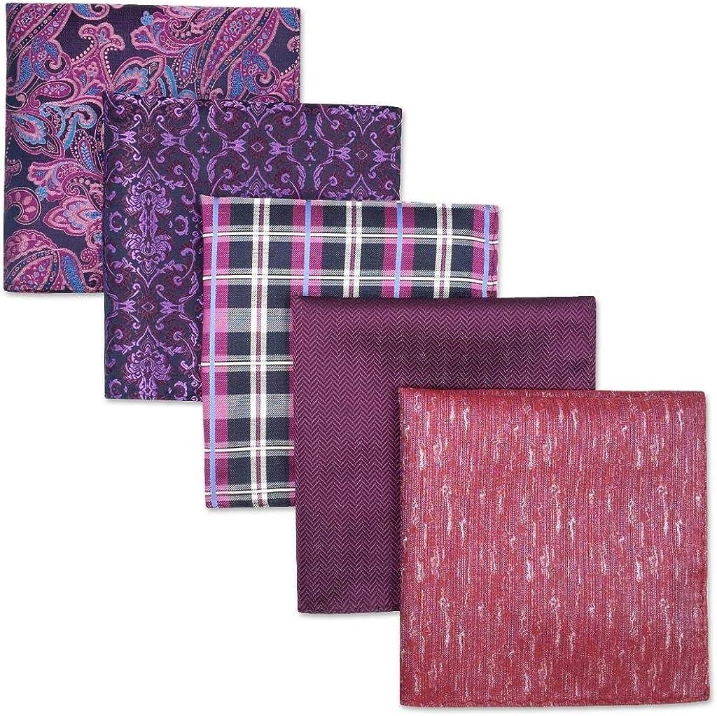 S/&W SHLAX/&WING 5 Pieces Mens Pocket Squares Classic Handkerchiefs Set Fashion