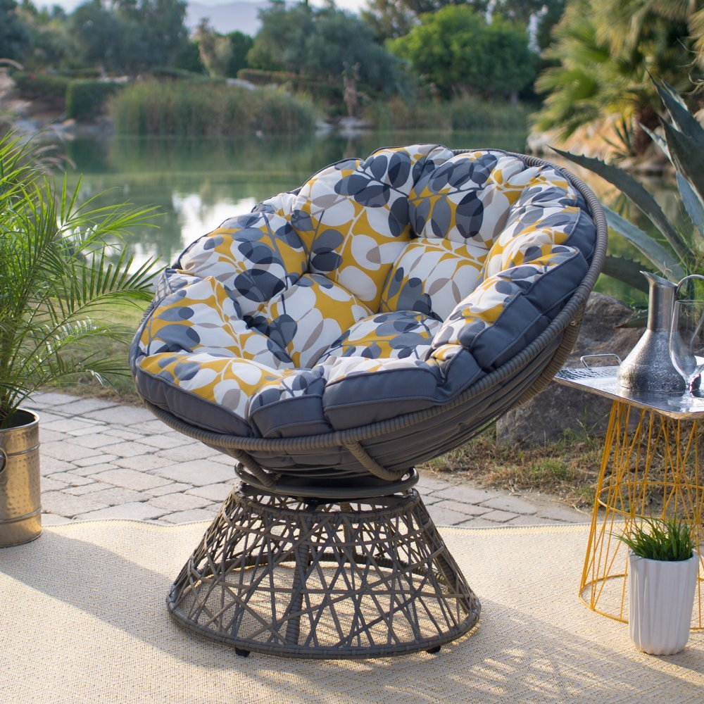 Kambree Outdoor Papasan Chair with Reversible Cushion Made w/ Resin Wicker,Metal and Polyester in Light Grey 38.2W x 33D x 36.22H in. by Belham Living