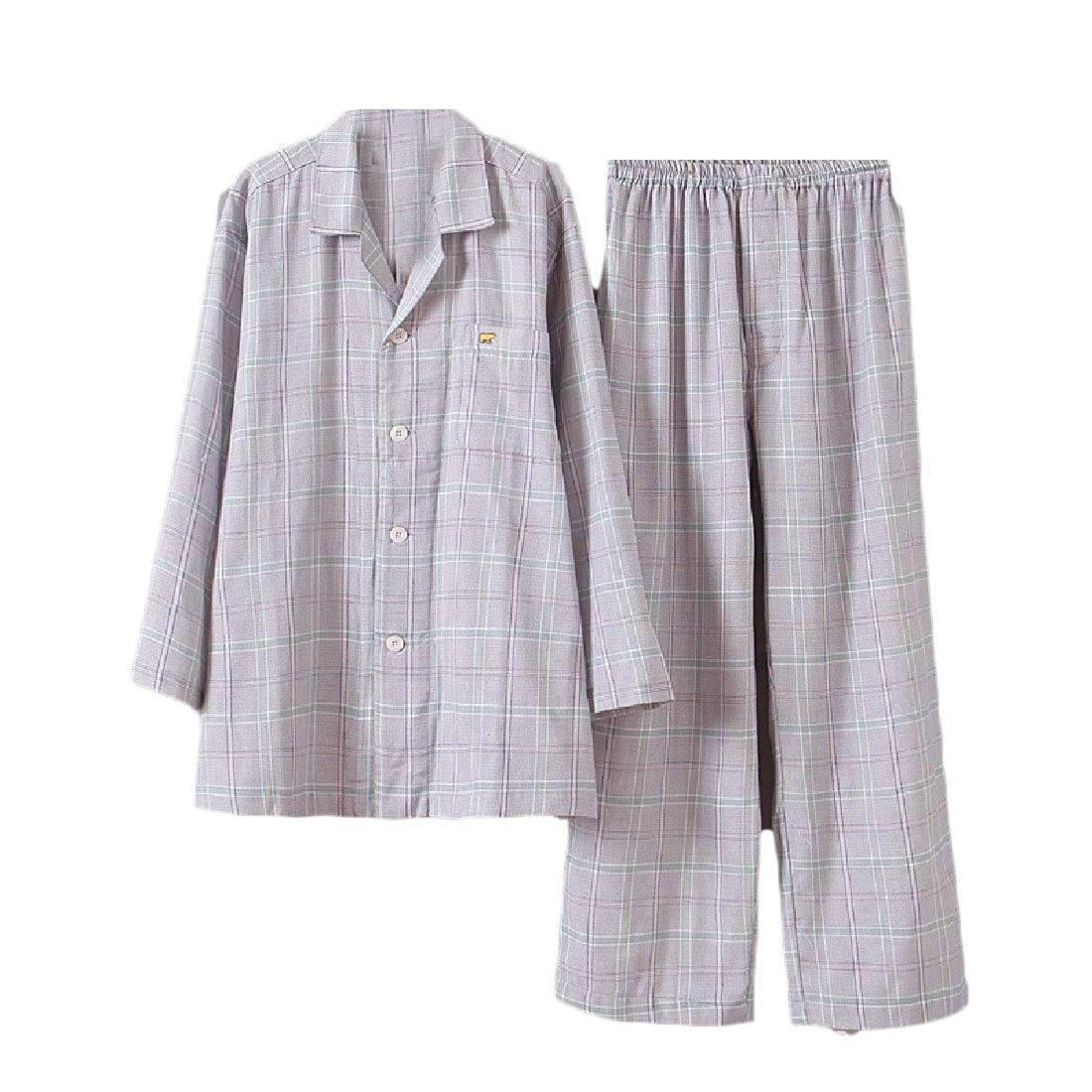Winwinus Mens Double Layers Classic Plaid Cotton Top with Pants Pajama Sleep Set