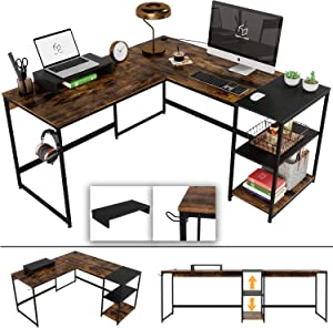 Nost & Host Switchable 59'' L Shaped Corner Computer Desk with Free Monitor Stand & Headphone Rack, 94.5'' 2 Person Extra Long Working Desk with Shelves, Home Office Gaming Table, Rustic Brown & Black
