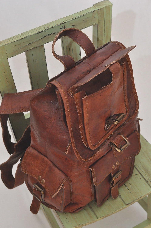 VH - Mochila de Piel auténtica Hecha a Mano con Bolsa de Viaje para Ordenador portátil, Color marrón Oscuro: Amazon.es: Equipaje
