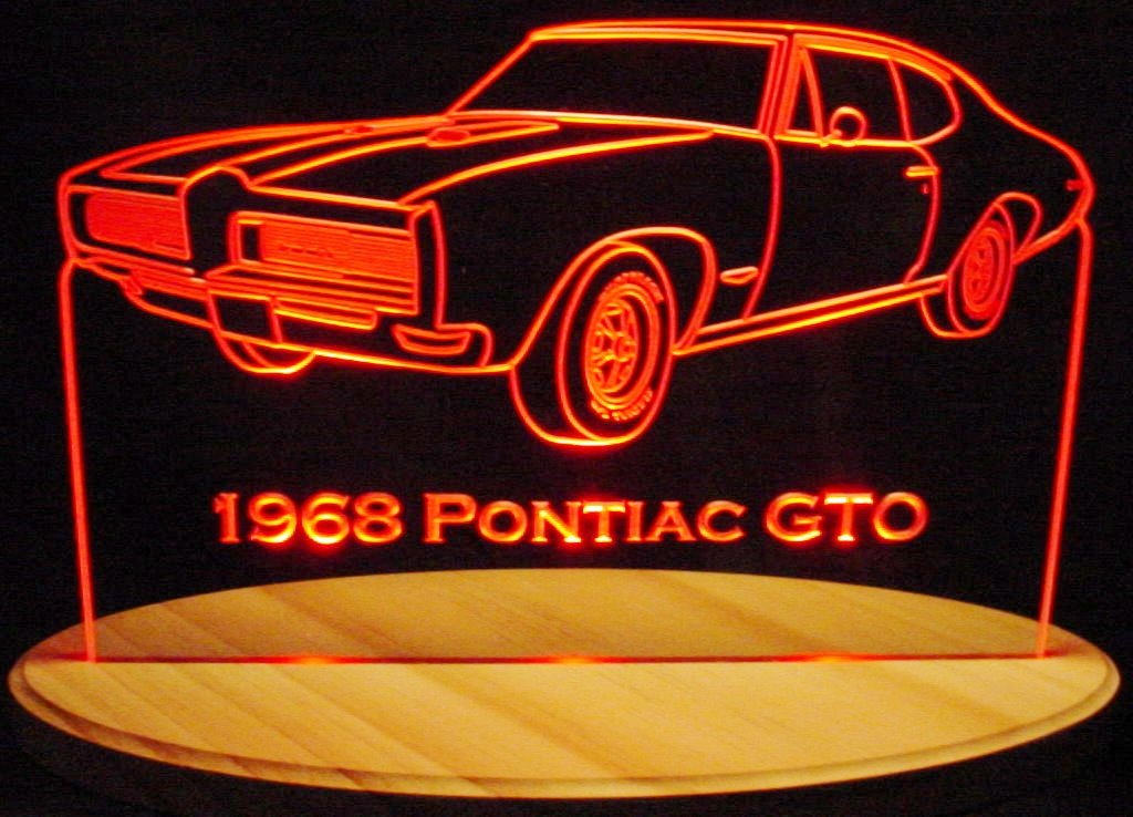 1968 GTO Acrylic Lighted Edge Lit 13'' LED Sign / Light Up Plaque 68 VVD9 Made in USA