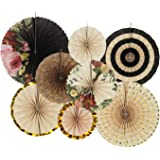 Zilue Hanging Paper Fans Decoration Set for Wedding Birthday Party Baby Showers Round Events Accessories Set of 8…