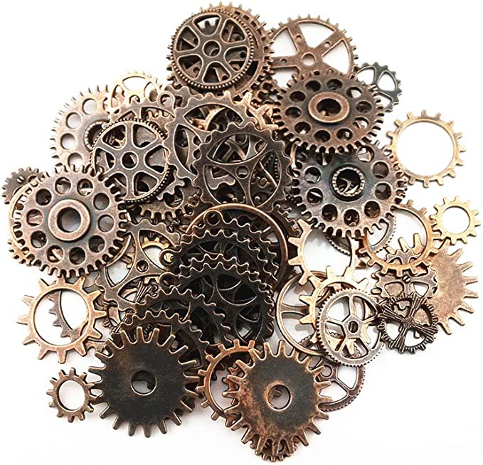 Amazon.com: Blovess Yueton 100 Gram (Approx 70pcs) Assorted Antique Steampunk Gears Charms Pendant Clock Watch Wheel Gear for Crafting, Jewelry Making Accessory (Copper)