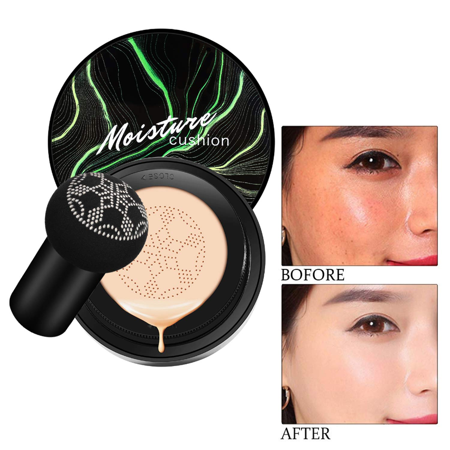 Mushroom Head Air Cushion CC Cream Foundation, Firstfly Moisturizing BB Cream Makeup Long Lasting Matte Concealer (Natural)