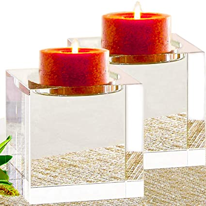 Amazing Home Huge Crystal Pillar Candle Holders 4quot4quot4quot Set Of 2