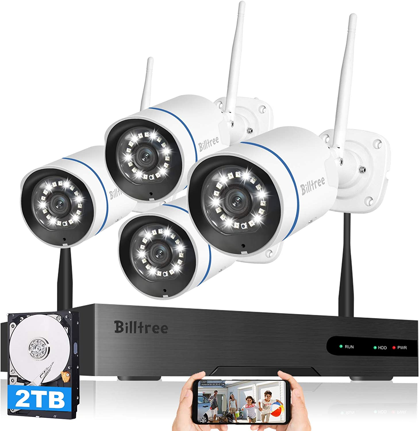 【Floodlight & Siren Alarm】Wireless Security Camera System, Billtree 3MP Ultra-HD 8CH NVR with 2TB Hard Drive, 4Pcs 3MP WiFi Surveillance Cameras with AI Human Detection,2 Way Audio, Color Night Vision