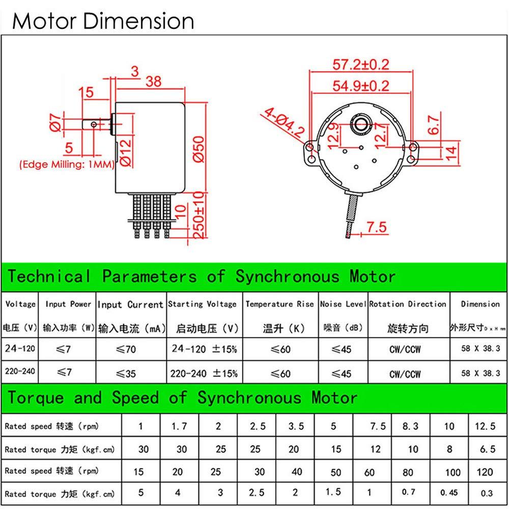 50KTYZ Synchronous Motor AC220V 10W 10RPM Permanent Magnetic AC Motor CW//CCW 10RPM