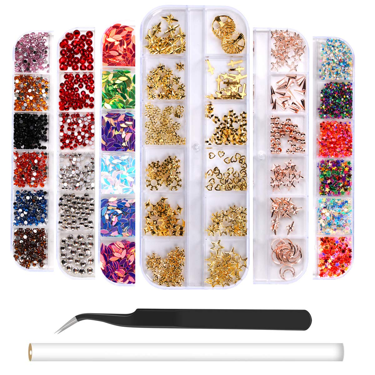 6 Boxes Nail Art Rhinestones Rose Gold Nail Rivets Studs, Charms Nail Sequins, 3D Nail Gems Decoration Kit, Multicolor Acrylic Crystals with Curved Tweezer, Pencil Picker by RFWIN