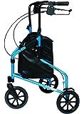 Lumex 3-Wheel Cruiser, Lightweight and Compact Folding Walker, Bondi Blue, 609201B
