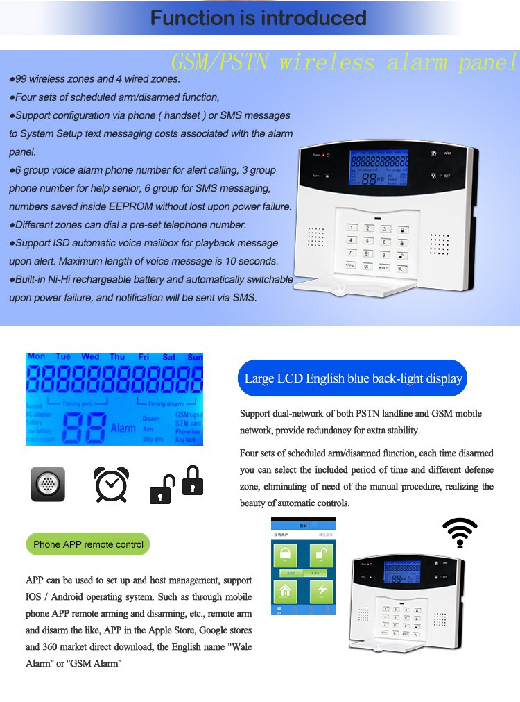SUNLUXY® Kit Alarma Inalámbrica GSM LCD SMS Detector Magnético Sistema Seguridad para Hogar