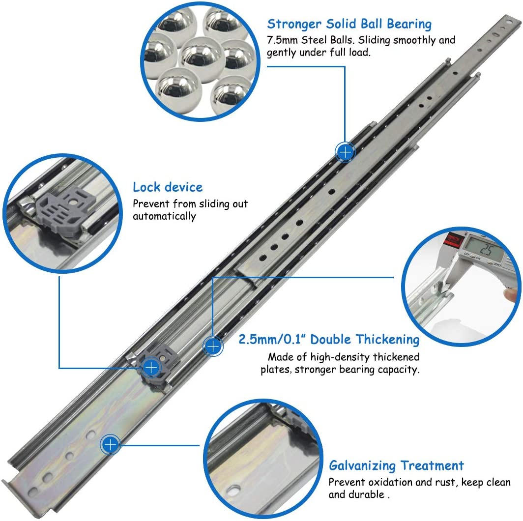 76mm Widening Side Mount Ball Bearing 3-Fold Full Extension 1-Pair VADANIA Ultra Heavy Duty Drawer Runners 500mm