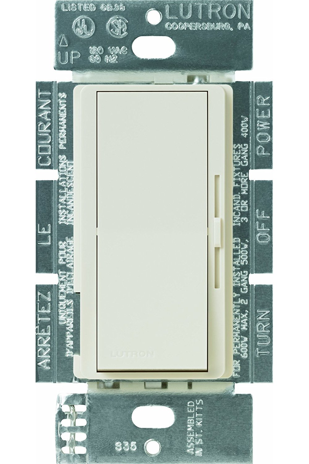 Lutron Diva Fan Control and Light Switch for LEDs, CFLs, Incandescent and Halogen Bulbs, DVFSQ-LF-LA, Light Almond by Lutron