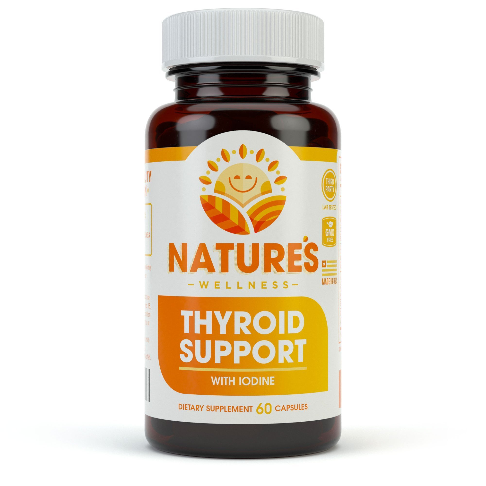 Thyroid Support Complex With Iodine For Energy Levels, Weight Loss, Metabolism, Fatigue & Brain Function - Natural Health Supplement Formula: L-Tyrosine, Selenium, Kelp, Bladderwrack, Ashwagandha, etc by Natures Wellness