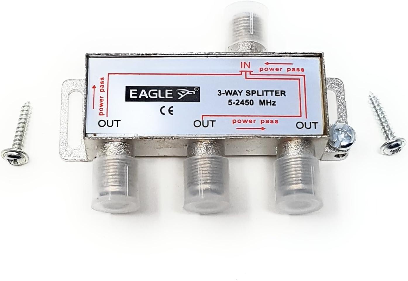 MainCore F-Type - Cable divisor de cable para TV, Freeview, Sky/SkyHD, NTL, Virgen, satélite, salidas de antena/coaxial/5-2,45 GHz (disponible en 2 vías, 3 vías, 4 vías)