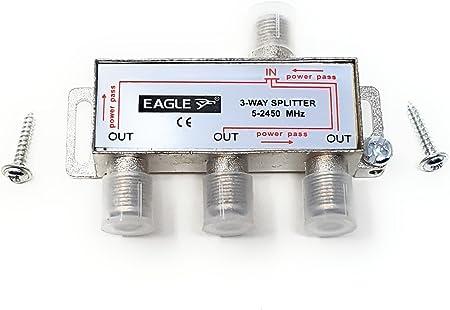 TALLA 3 Way. MainCore - Conector de tornillo tipo F (3 vías) 1 entrada a 2 salidas divisor de cable para TV, satélite, salidas de antena/coaxial / 5-2,45 GHz