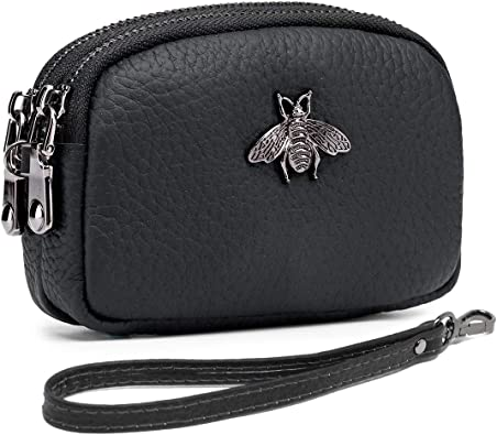 Small Double Pocket Black Leather Vintage Wallet Coin Purse