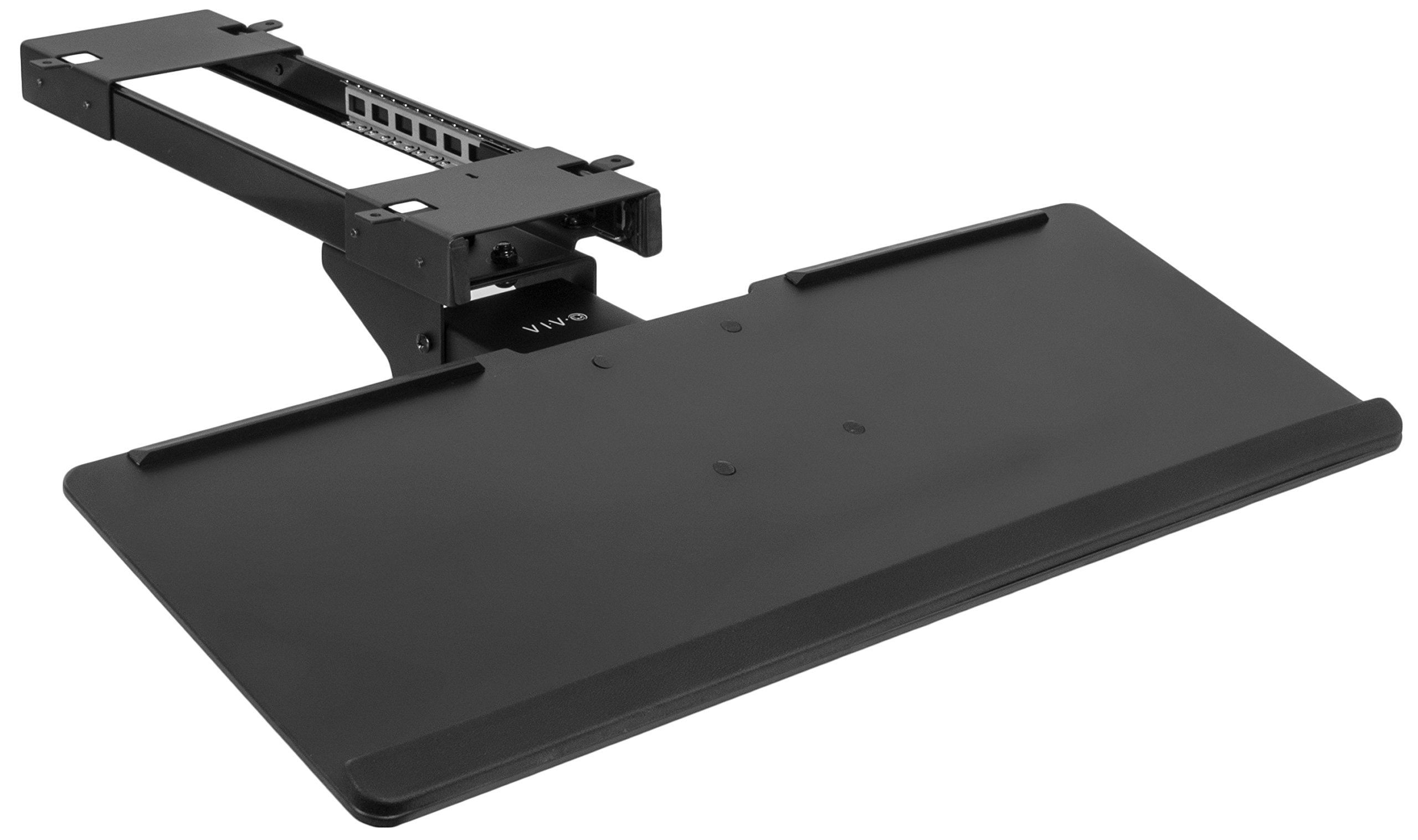VIVO Black Adjustable Computer Keyboard & Mouse Platform Tray Deluxe Smooth Rolling Track Under Table Desk Mount (MOUNT-KB04C)
