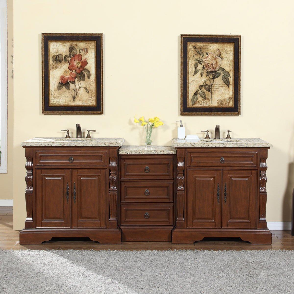 Silkroad Exclusive Bathroom Vanity Venetian Gold Granite Top Double Sink Cabinet, 90'' by Silkroad Exclusive