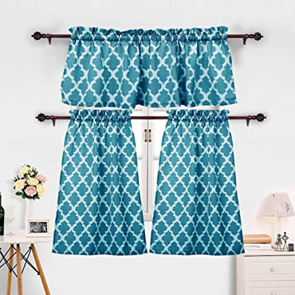 3 Pieces Kitchen Curtains Set Moroccan Cotton Blend Kitchen Cafe Tier  Curtains and Valance Geometric Printed Print Rod Pocket Small Window  Curtain for ...