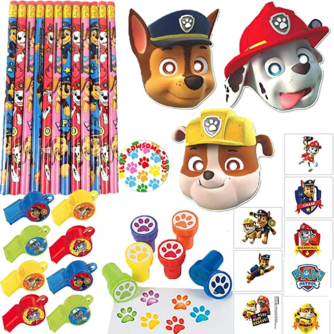 Paw Patrol Birthday Party Favor Pack and Goodie Bag Filler For 16 Guests With Paw Patrol Masks, Whistles, Tattoos, Stampers, Pencils, and Exclusive ...